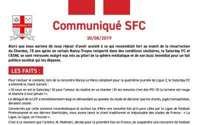 Communiqué Saturday FC